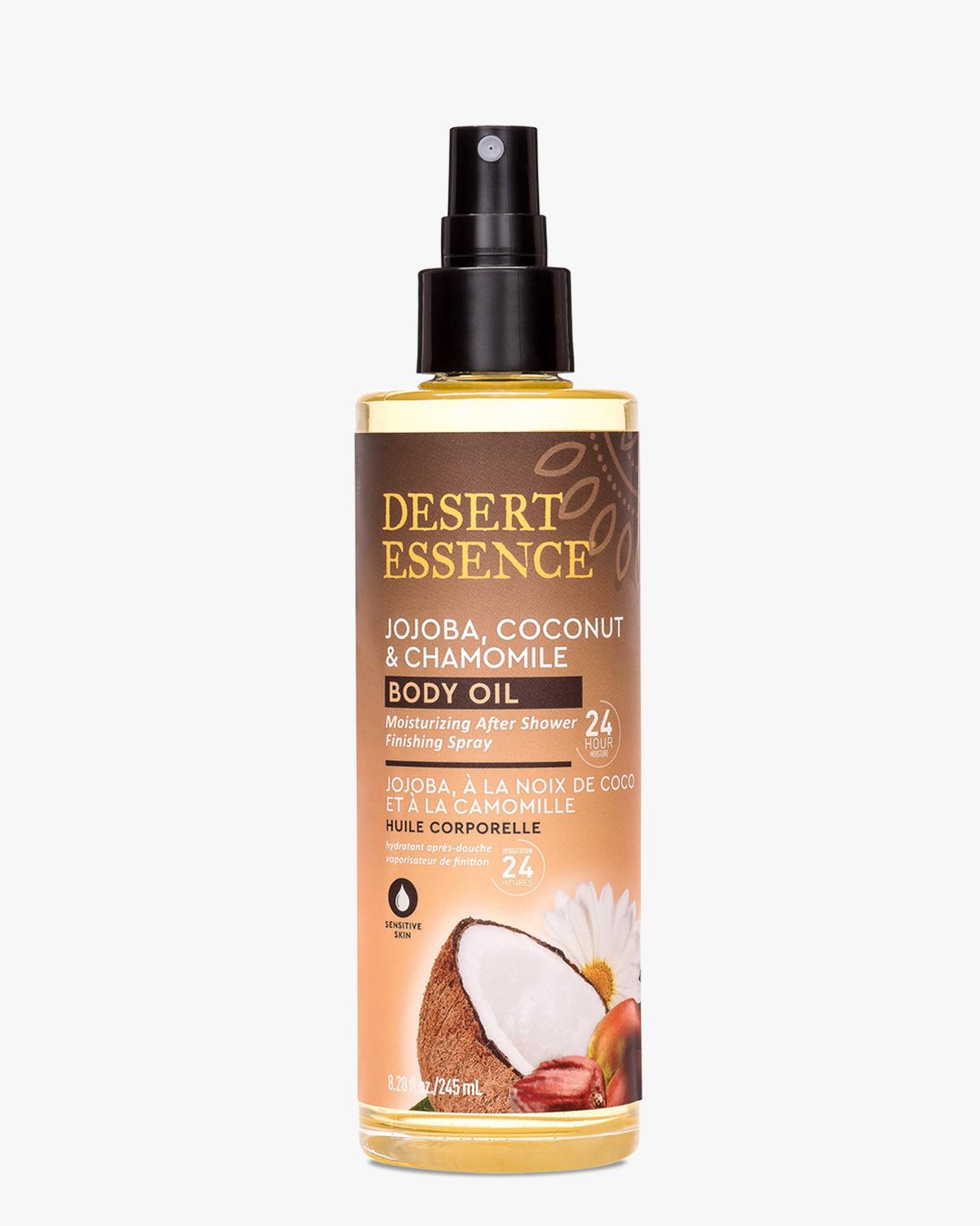 Desert Essence coupon: Desert Essence Jojoba, Coconut & Chamomile Body Oil Spray, 8.28 fl oz. | Vegan