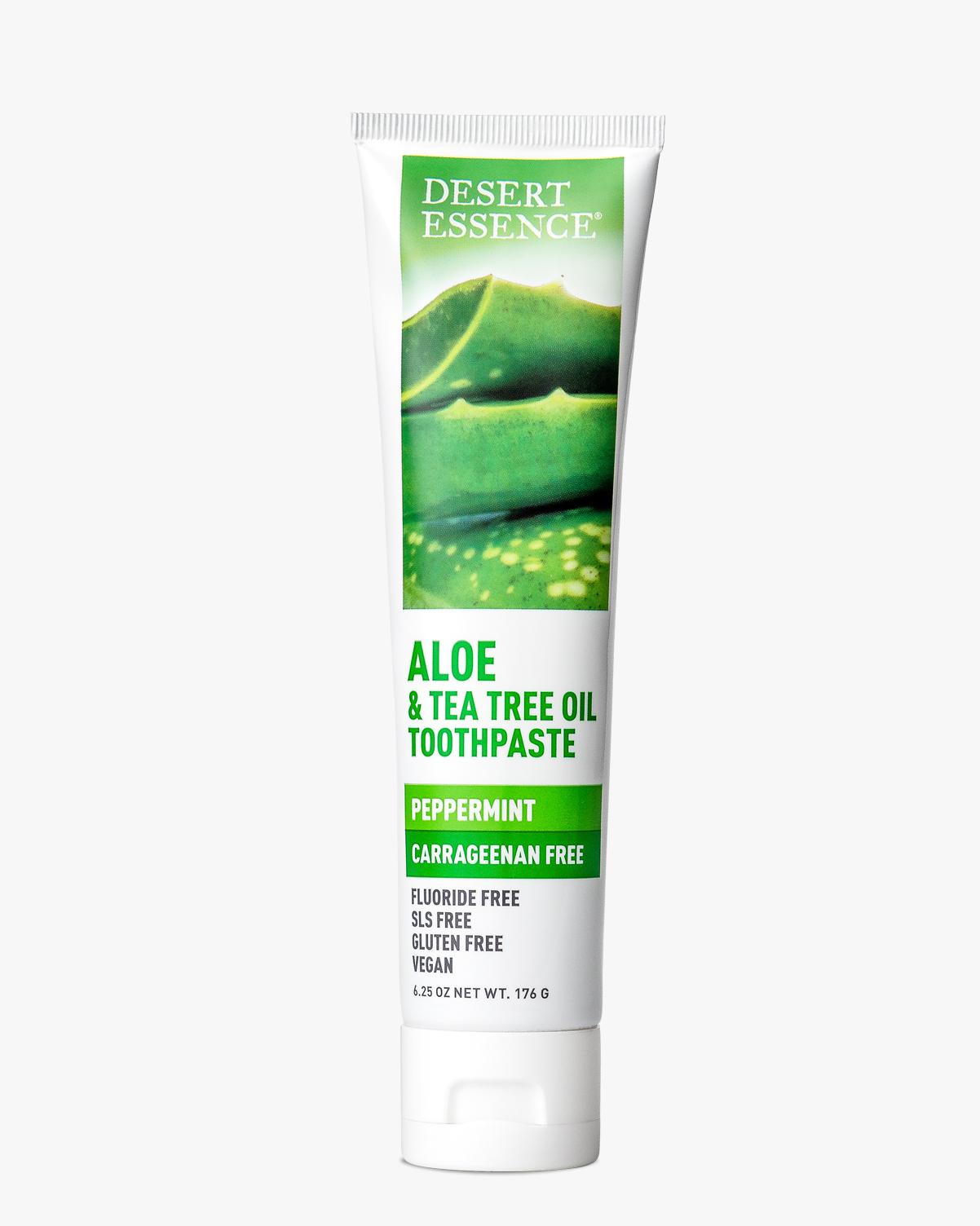 Desert Essence coupon: Desert Essence Aloe & Tea Tree Oil Carrageenan Free Toothpaste, 6.25 oz. | Vegan | Gluten-Free