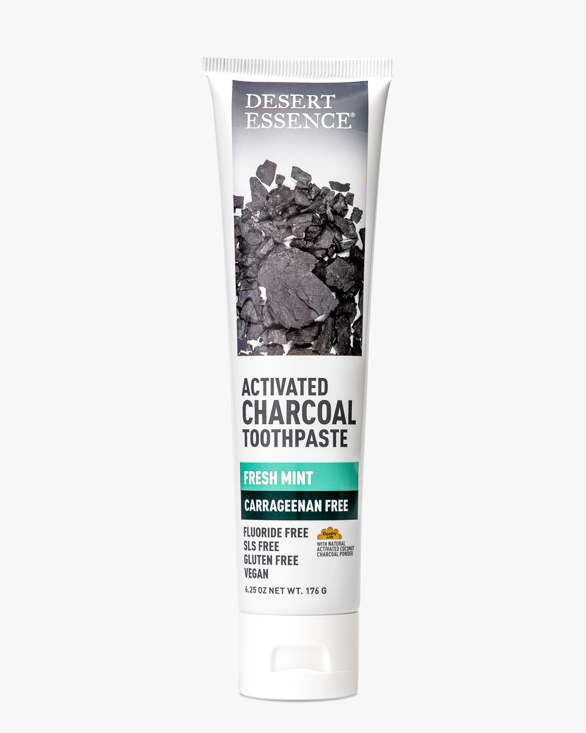 Desert Essence coupon: Desert Essence Activated Charcoal Carrageenan Free Toothpaste, 6.25 oz.   Vegan   Gluten-Free