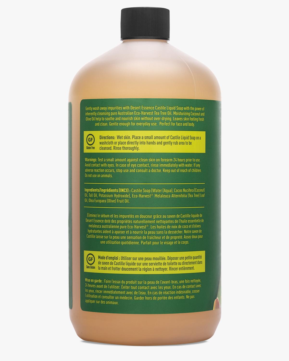 Un Toilette Ou Une Toilette desert essence tea tree oil liquid castile soap refill, 32 fl. oz. | vegan  | gluten-free