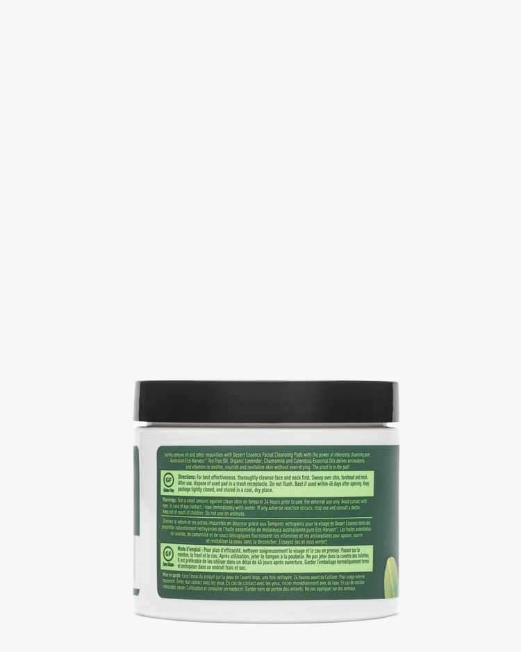 Back of Tea Tree Oil Daily Facial Cleansing Pads Label with Directions