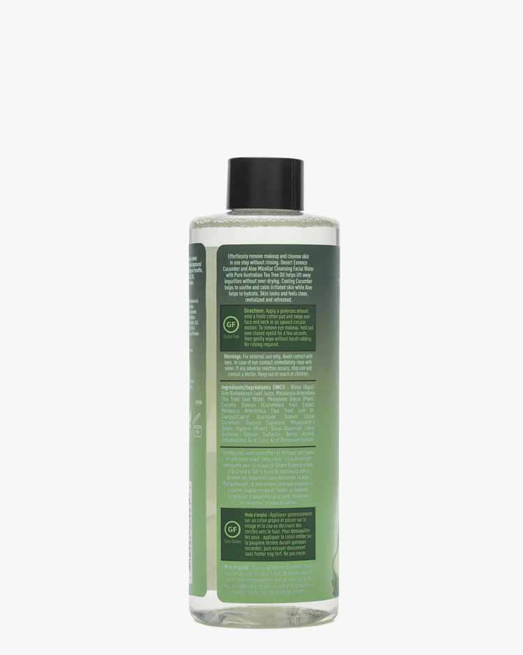 Back of Cucumber & Aloe Micellar Cleansing Facial Water Label with Directions