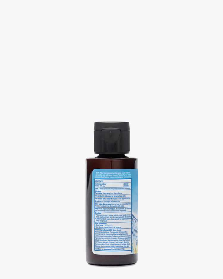 Back of Tea Tree Oil & Lemongrass Probiotic Hand Sanitizer Label with Ingredients