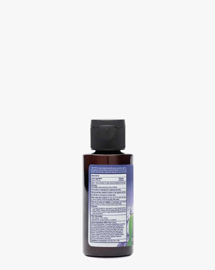 Back of 1.7oz Tea Tree Oil & Lavender Hand Sanitizer Label with Directions